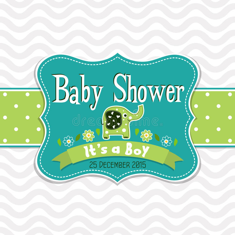 Template greeting card - baby shower, vector royalty free illustration