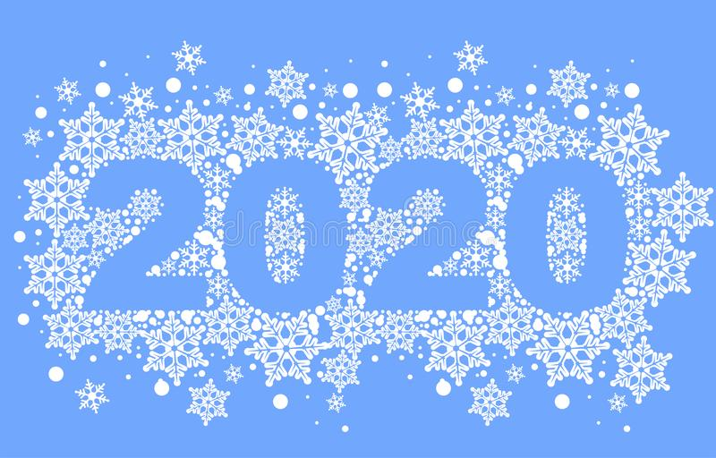 2020 template greeting card background of snowflakes. Number text of symbol year 2020 calendar royalty free stock photography