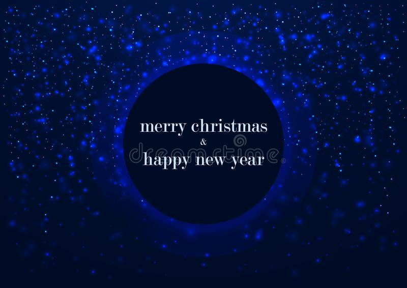 Template of greeting card, Merry Christmas and happy New Year, with round frame, glowing snowflakes blue winter background vector illustration