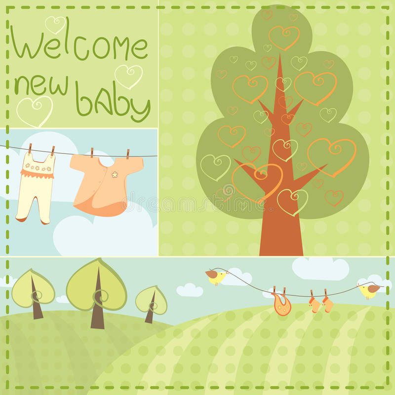 Template Greeting Card Royalty Free Stock Image: Template Greeting Card For Newborn Baby Stock Vector