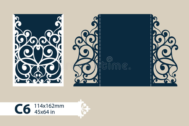 Template greeting card with openwork pattern vector illustration