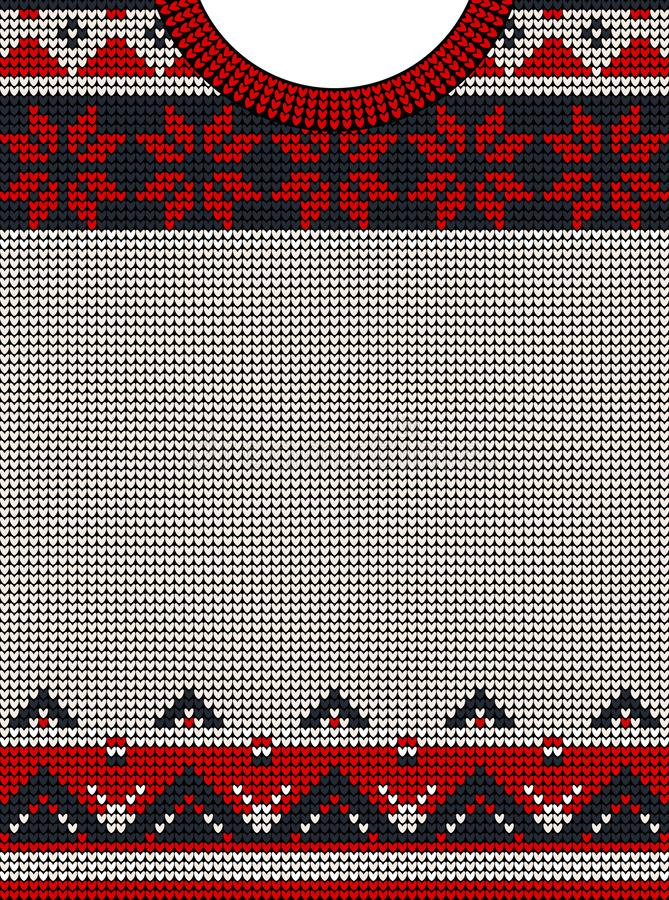 Template for greeting card or party invitation in an ugly sweater. vector illustration