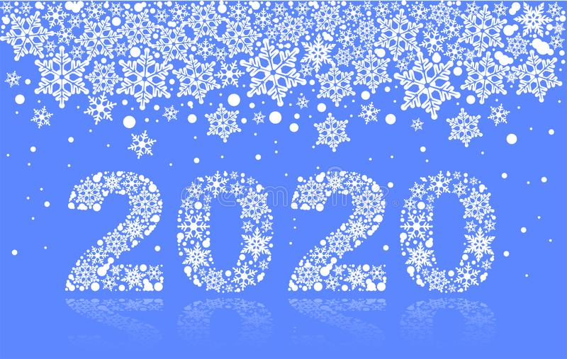 2020 template greeting card snowflakes. Number text of symbol year 2020 calendar royalty free stock photos