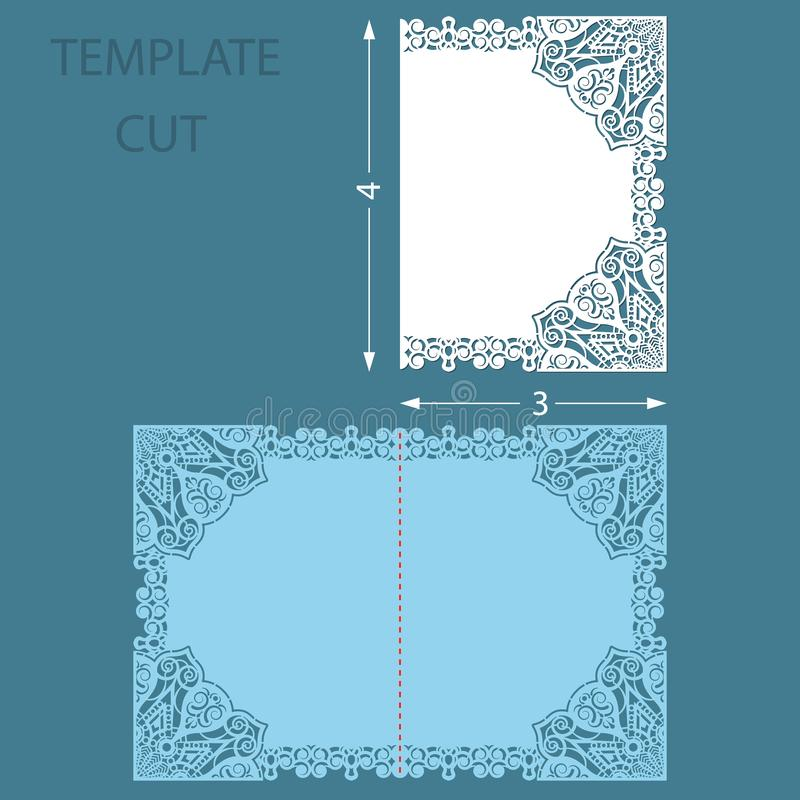 Template greeting congratulatory card with a decorative border on the edge. Wedding invitation laser cut. Cut out of paper card wi. Th lace edge with an aspect vector illustration