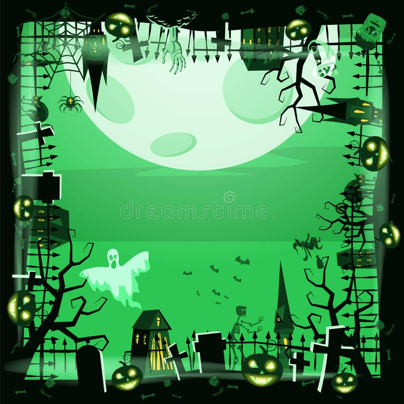 Template Halloween holiday pumpkin, cemetery, black abandoned castle, attributes of the holiday of All Saints, ghost royalty free illustration