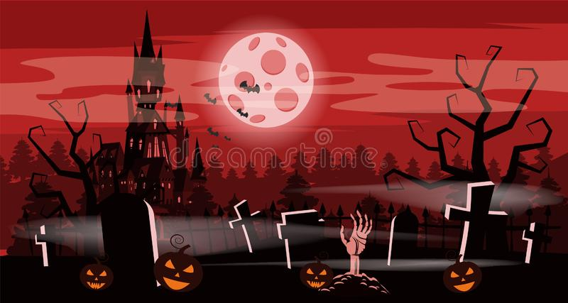 Template Halloween holiday pumpkin, cemetery, black abandoned castle, gloomy autumn forest, panorama, moon, crosses and vector illustration