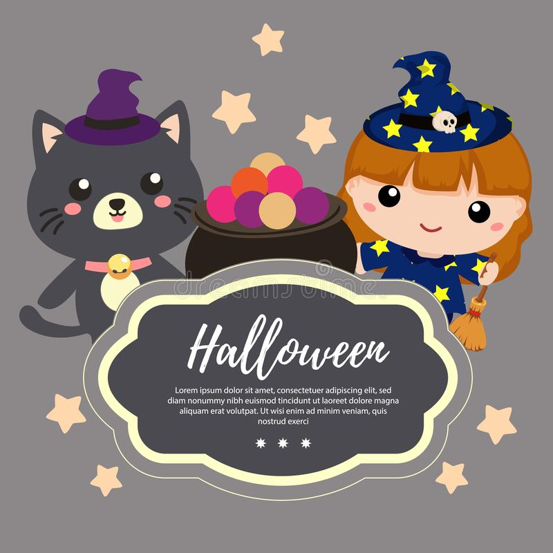 Template halloween with lovable cartoon cat and witch. Template halloween with lovable cat and witch stock illustration