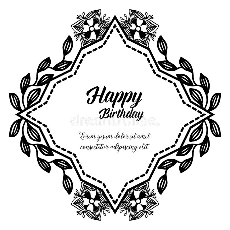 Template of happy birthday, design greeting card or invitation card, with cute wreath frame. Vector. Illustration stock illustration