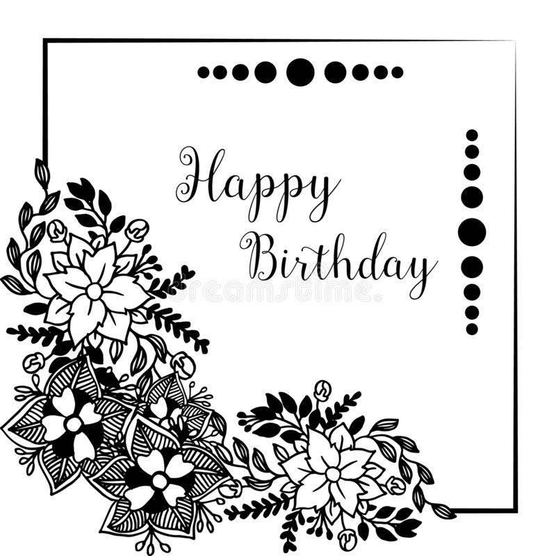 Template of happy birthday, design greeting card or invitation card, with cute wreath frame. Vector. Illustration royalty free illustration