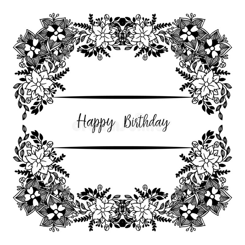 Template of happy birthday, design greeting card or invitation card, with cute wreath frame. Vector. Illustration vector illustration
