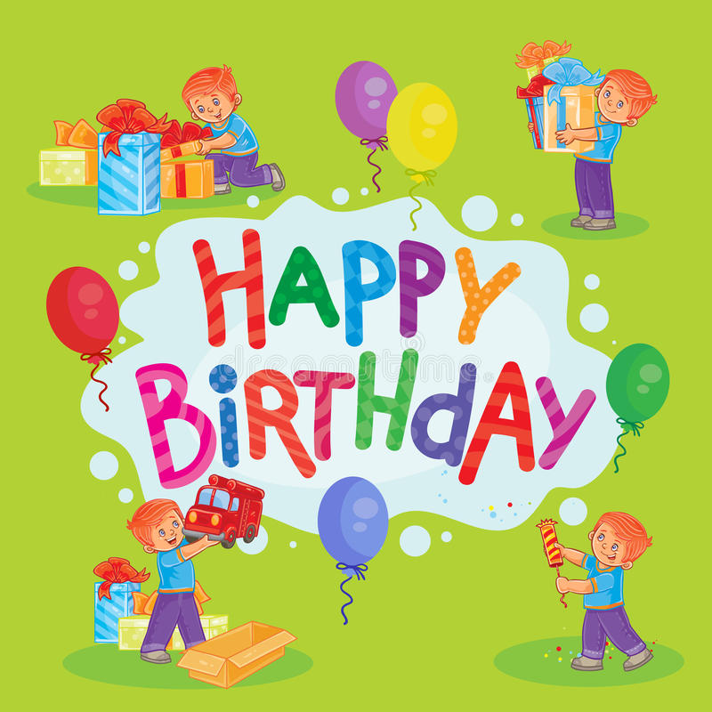 Template For Happy Birthday Greeting Card Stock Vector