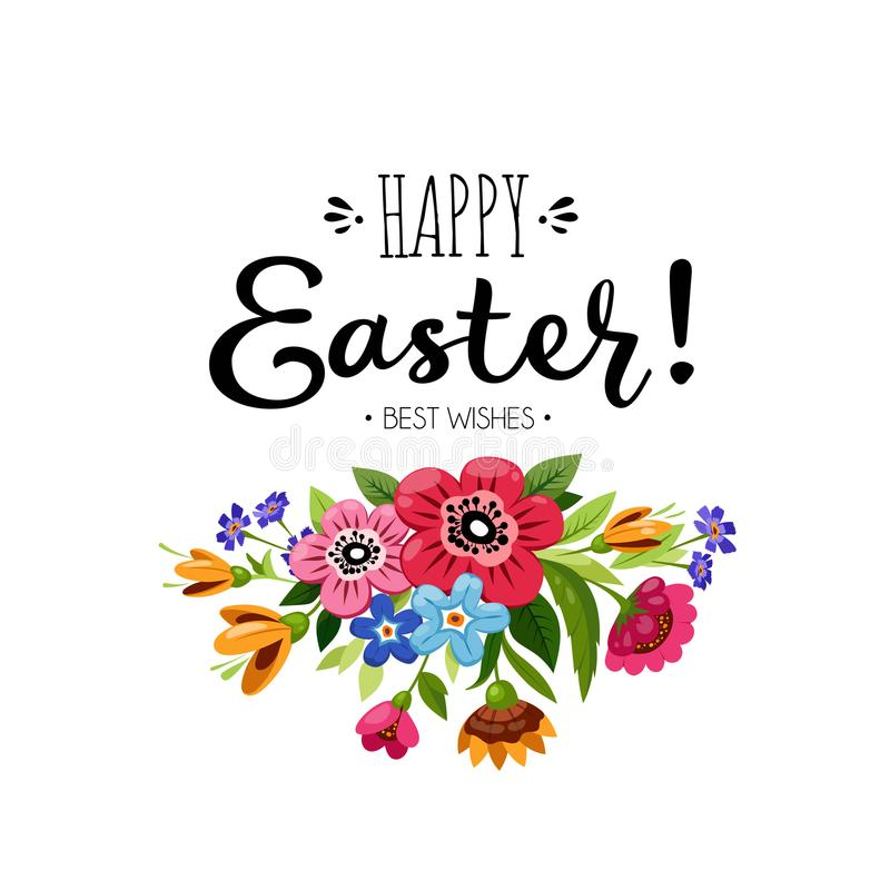 Template of Happy Easter card with bouquet of flowers and inscription. Hand drawn lettering Happy Easter Best Wishes . royalty free illustration