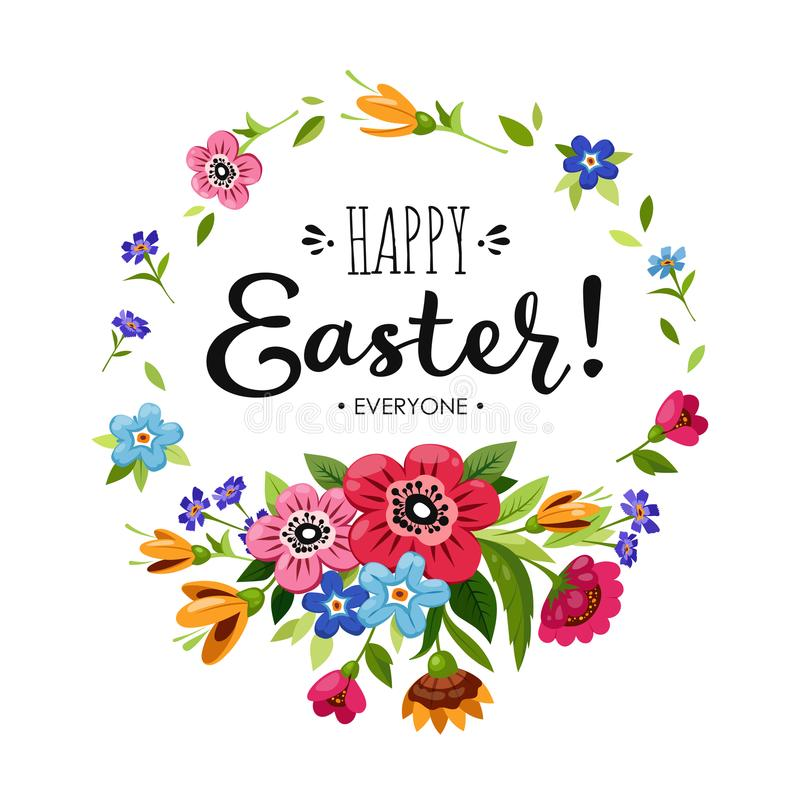Template of Happy Easter card. Lettering Happy Easter Everyone in round flower frame. Vector floral wreath with flowers royalty free illustration