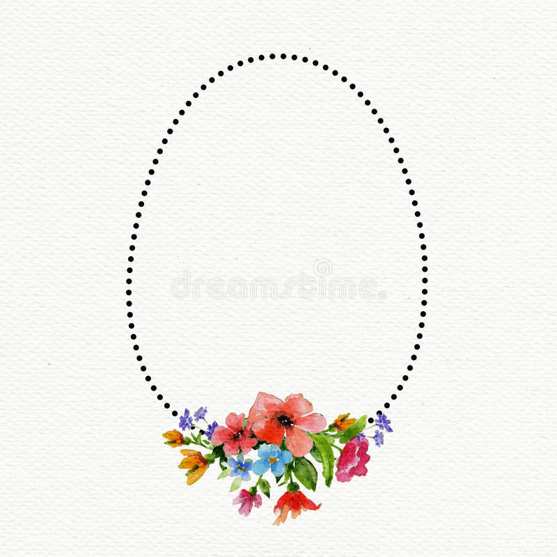Template of Happy Easter card with watercolor flowers and egg frame royalty free illustration
