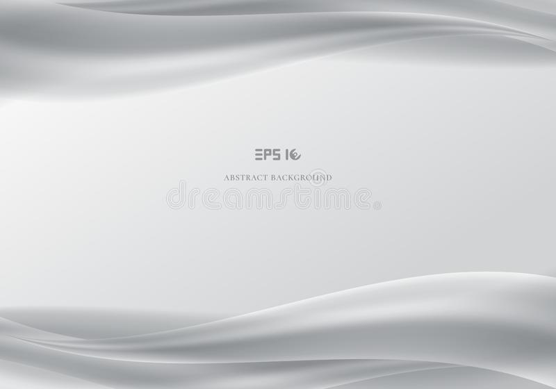 Template header and footers abstract white waves smooth gray background. stock illustration