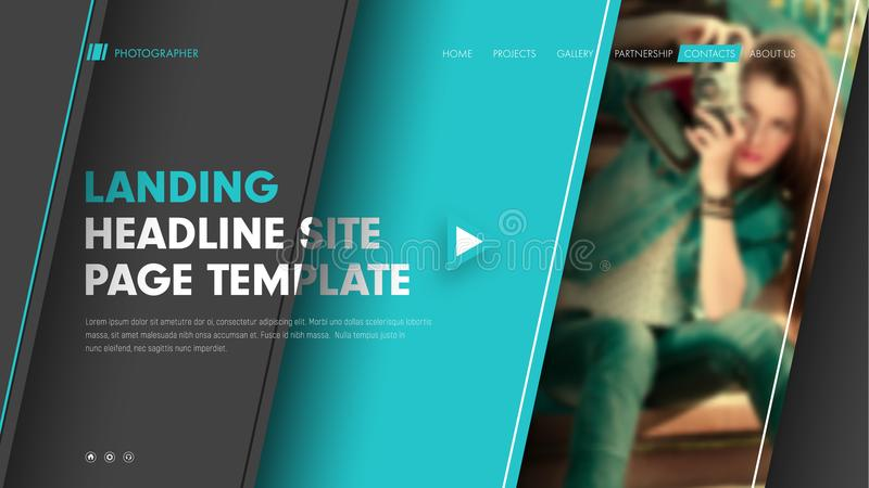 Template header site with diagonal black and blue lines and a pl. Ace for a photo. Modern banner design with title, text and buttons. Vector illustration royalty free illustration