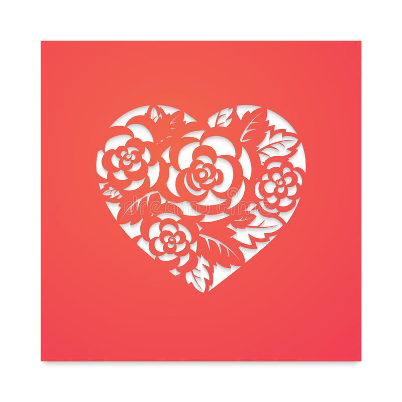 Free Template Heart With Roses For Laser Cutting. Stock Photo - 86564870