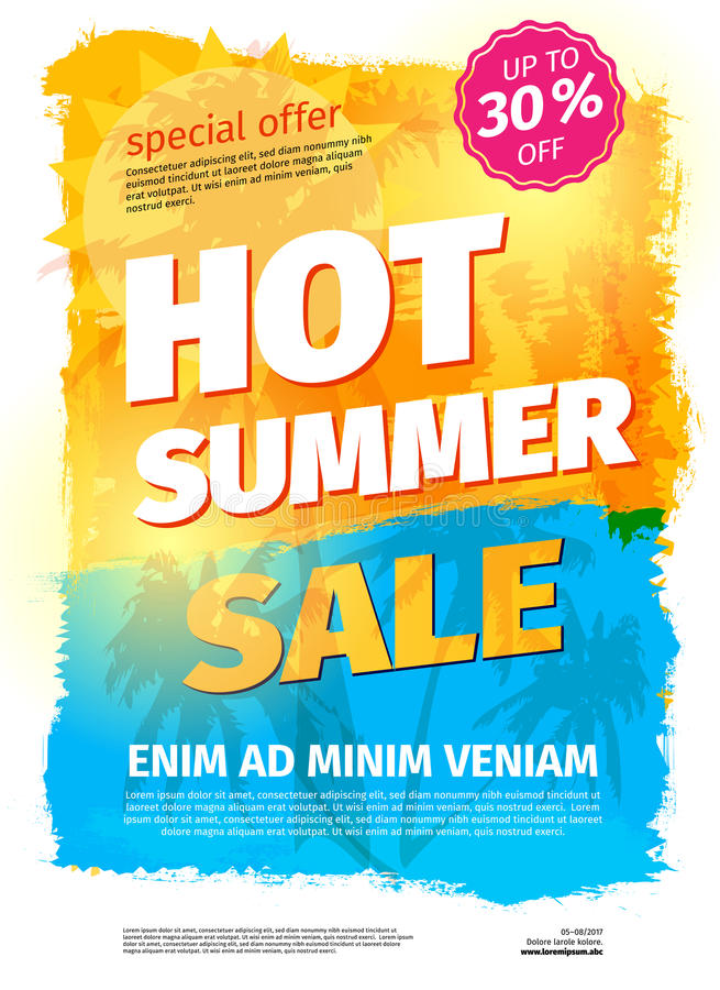 Template for HOT SUMMER SALE with sample text. Vector illustration royalty free illustration