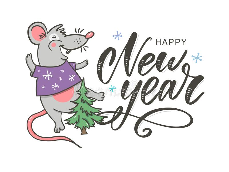 Template image Happy new year party with rat, white background new year 2020. Funny sketch mouse Vector illustration. Template image Happy new year party with royalty free illustration