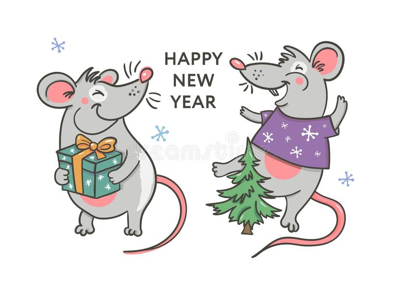 Template image Happy new year party with rat, white background new year 2020. Funny sketch mouse Vector illustration royalty free illustration