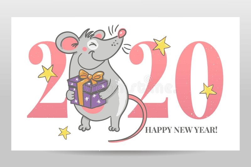 Template image Happy new year party with rat, white background new year 2020. Funny sketch mouse Vector illustration. Template image Happy new year party with stock illustration