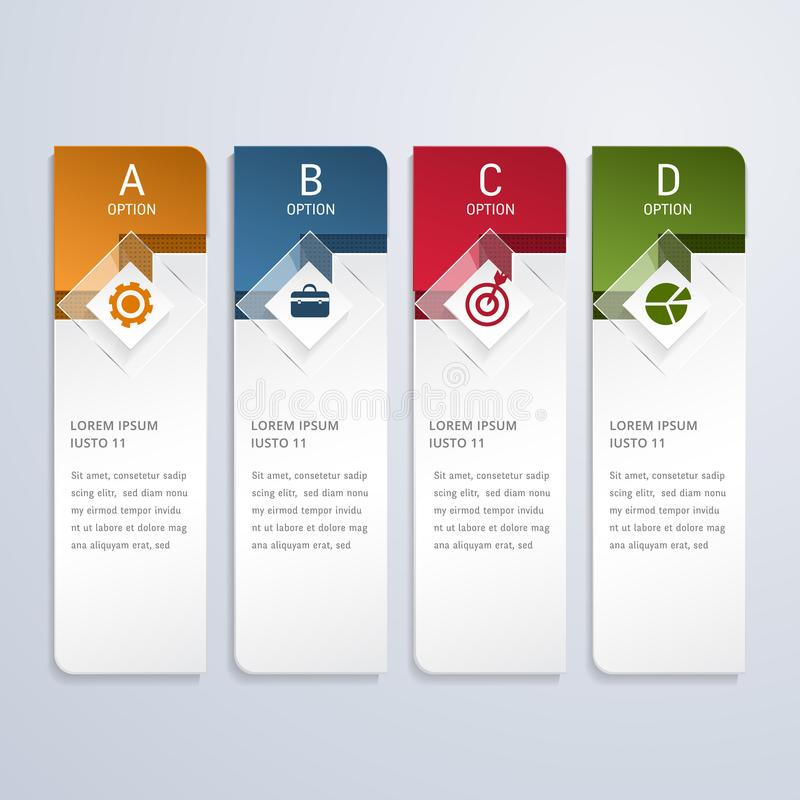 Template for infographic vector 4 options. Can be used for workflow layout, diagram, banner, web design. Abstract background. Business chart Concept royalty free illustration