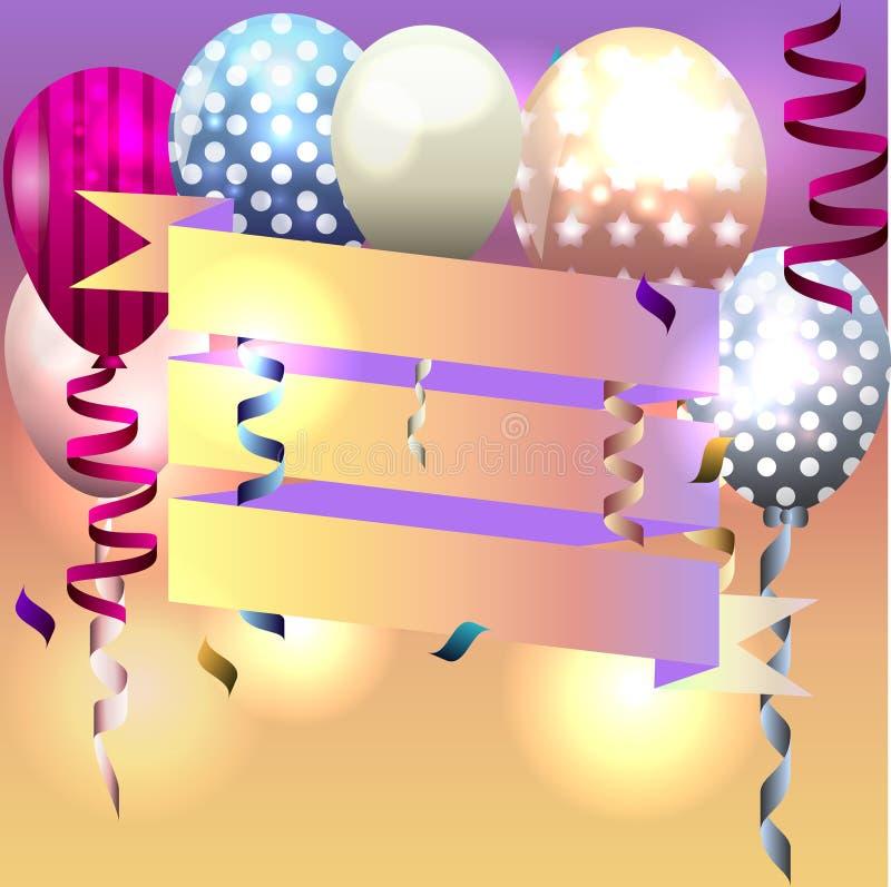 Template for invitation birthday card postcard with ribbon and download template for invitation birthday card postcard with ribbon and stock vector illustration stopboris Choice Image