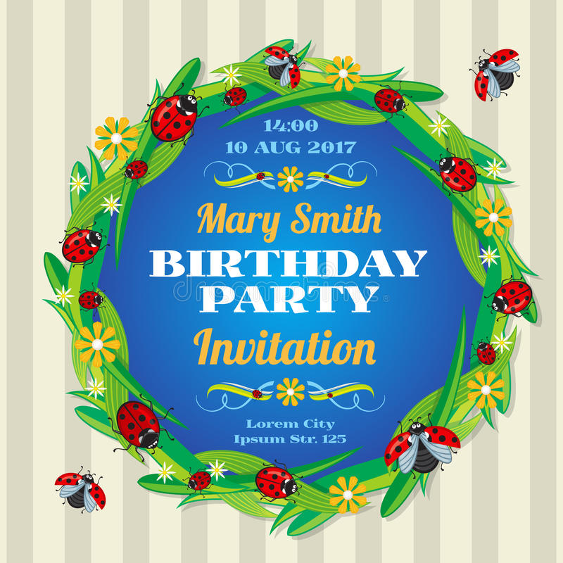 Template for an invitation or greeting card with decorated by ladybugs, Corel royalty free illustration