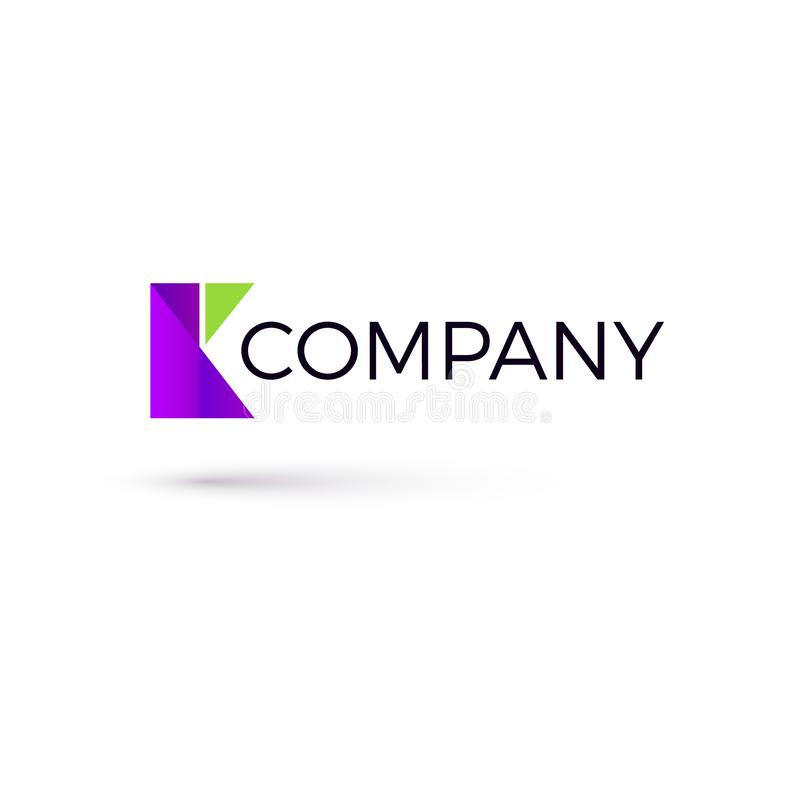 Template of K shaped logo created from geometric shapes of a rectangle and triangles. Vector illustration royalty free illustration
