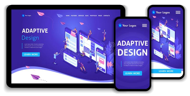 Template Landing page Isometric concept of web page design and development of mobile websites, adaptive design, applications royalty free illustration