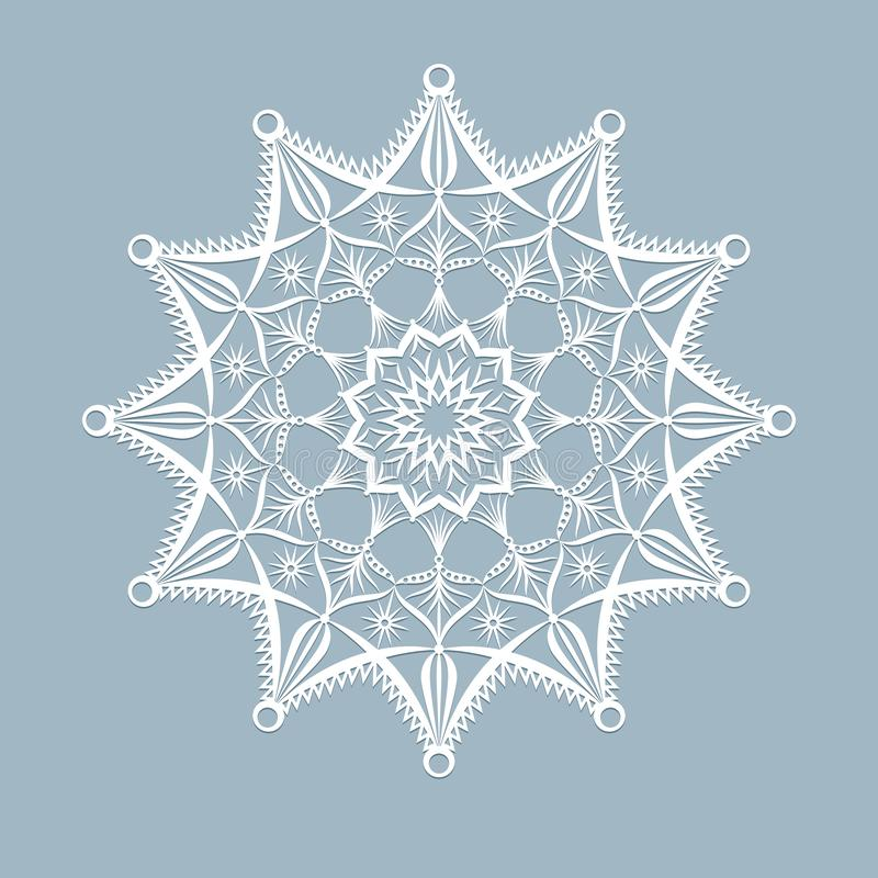 Template laser cut xmas cards Openwork Christmas snowflake cut out of paper for invitation greeting card for the New Year royalty free illustration