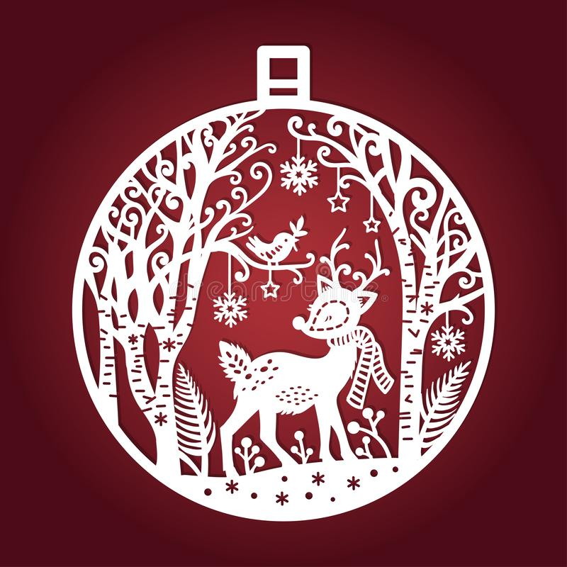 Template for laser cutting. Christmas ball. Vector stock illustration