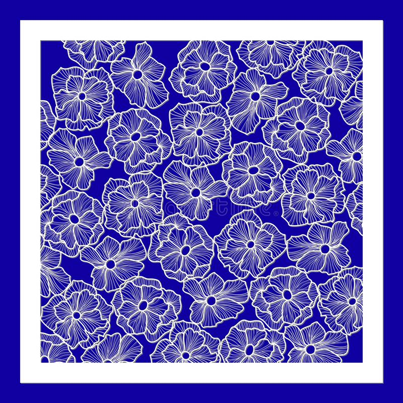 Template for laser cutting and Plotter. Flowers, leaves for decoration. Vector illustration, plotter and screen printing,. Serigraphy stock illustration