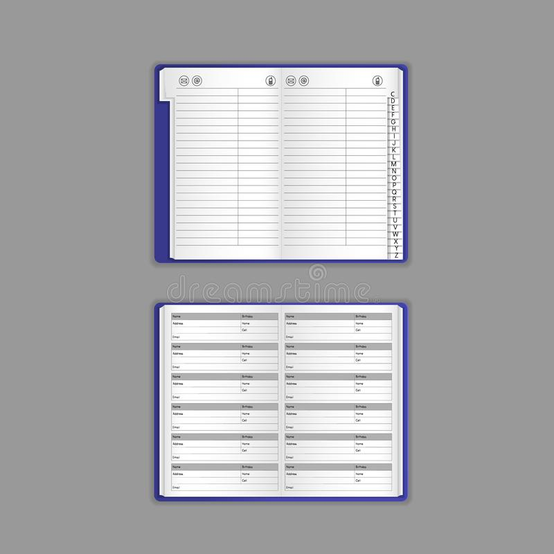Template, layout, beautiful realistic notebook, organizer, notepad, office book. stock illustration