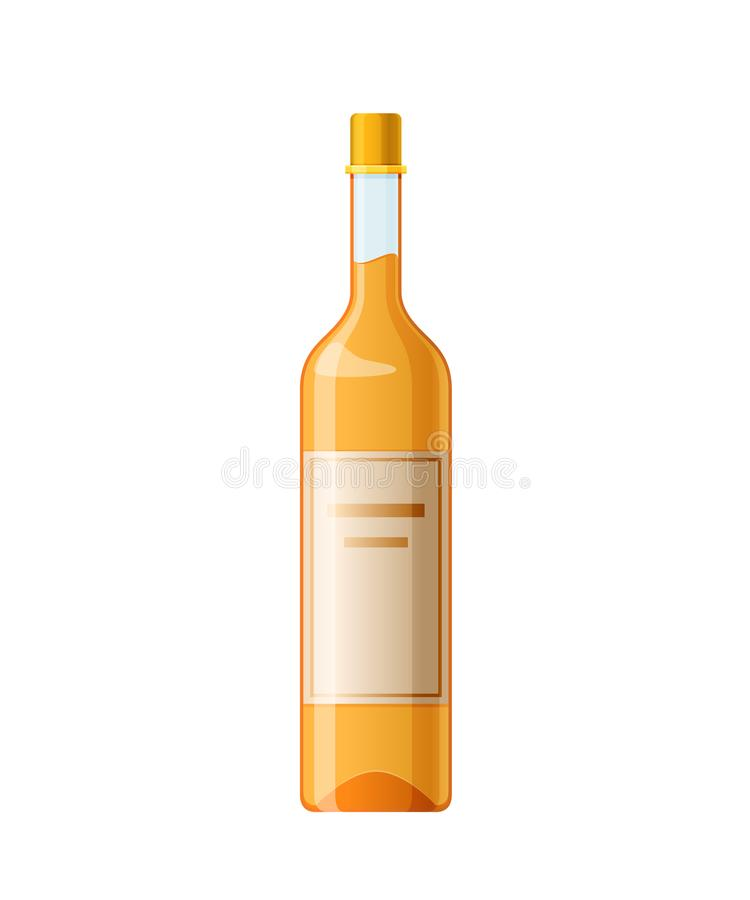 Template, layout, empty glass bottle of grappa, alcohol drink. Template, layout, empty glass bottle of grappa, alcohol drink, with cap. Billet, glass container royalty free illustration