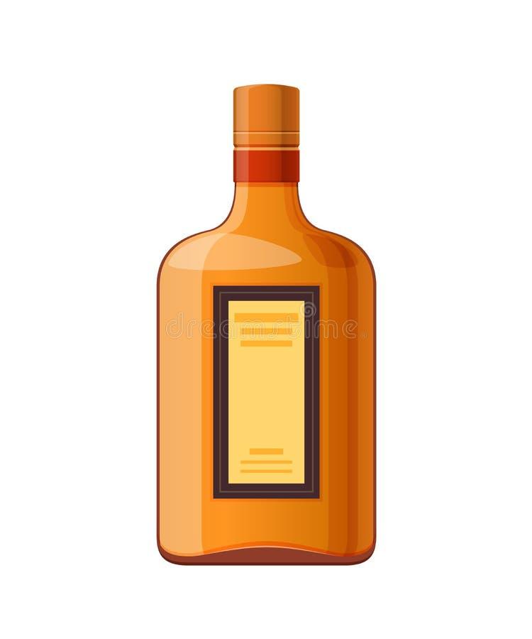Template, layout, empty glass bottle of liquor, alcohol drink. Template, layout, empty glass bottle of liquor, alcohol drink, with cap. Billet, glass container royalty free illustration