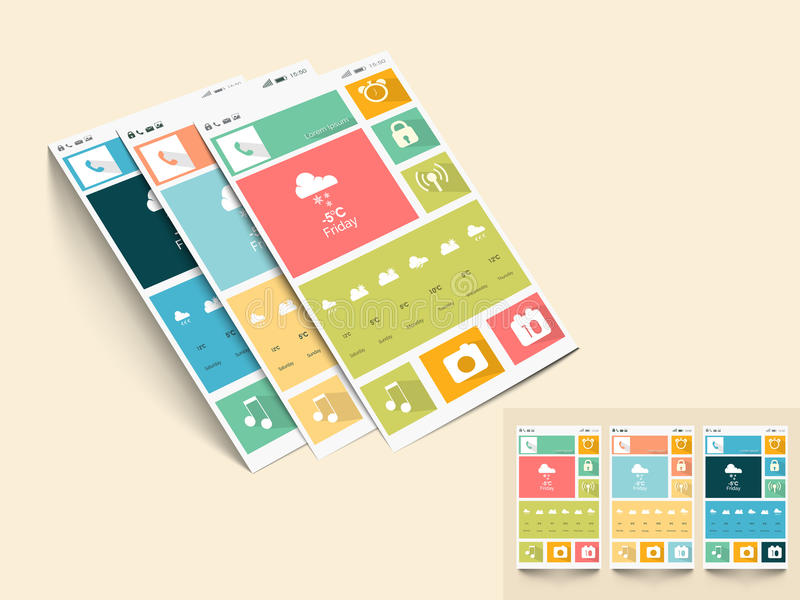 Template or layout for mobile user interface. stock illustration