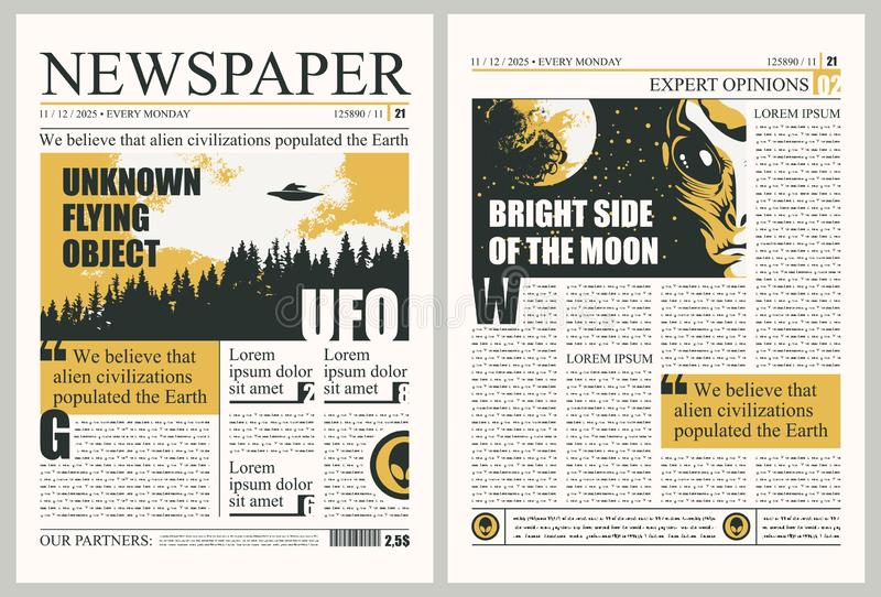 Template for layout of newspaper on the UFOs theme. Vector template for the layout of the newspaper on the subject of UFOs. Newspaper columns with unreadable royalty free illustration