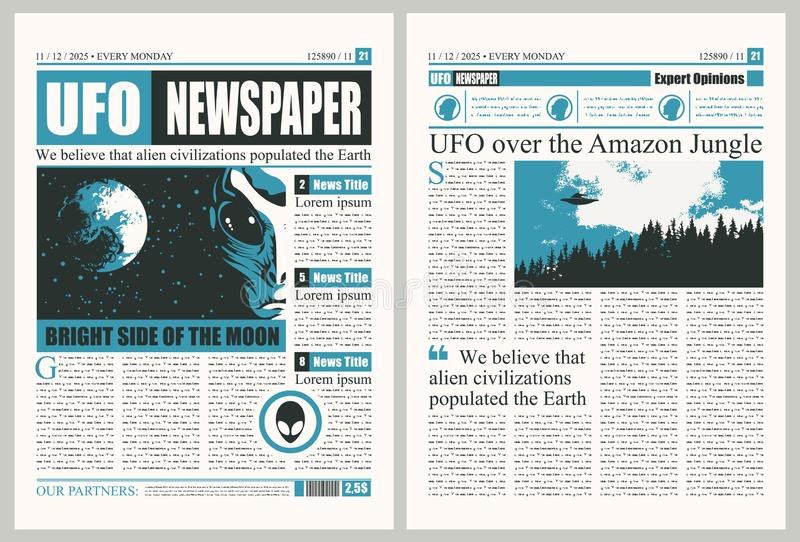 Template for layout of newspaper on the UFOs theme. Vector template for the layout of the newspaper on the subject of UFOs. Newspaper columns with unreadable stock illustration
