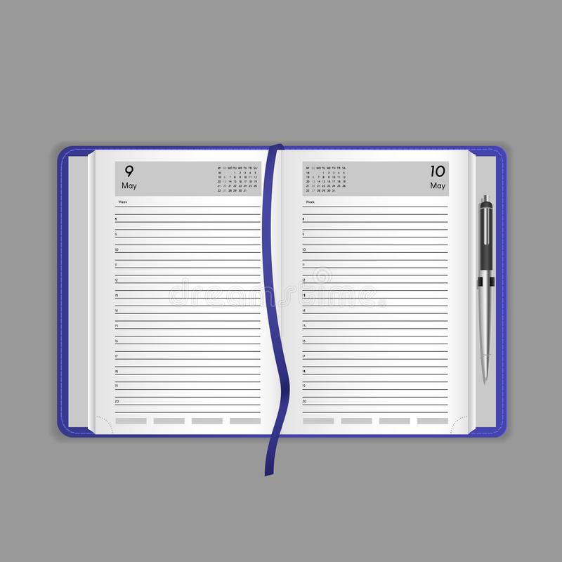 Template, layout, realistic notebook, organizer, notepad, office book, with bookmark. stock illustration