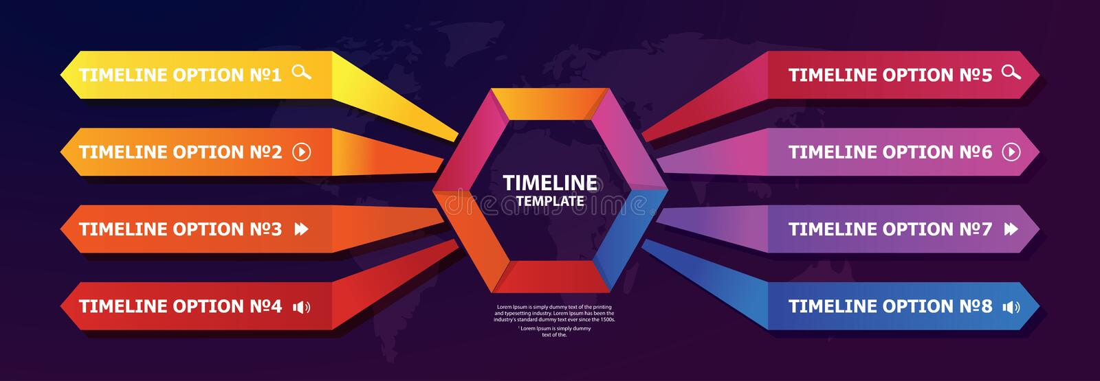 Timeline vector infographic for steps and option for marketing presentation, business reports, data visualisation, quality layout royalty free illustration