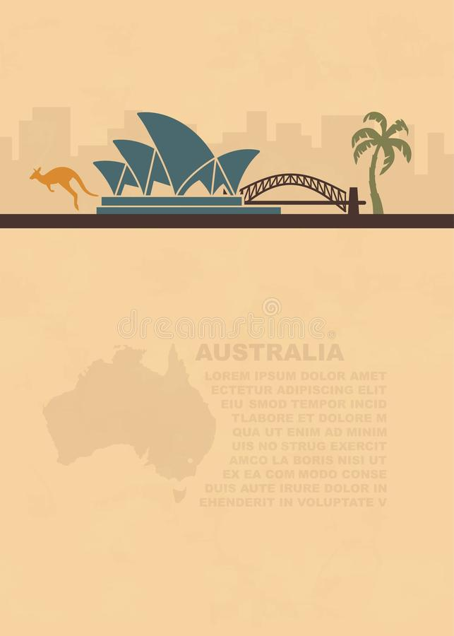 Template leaflets with a map and symbols of the Australia and place for text on old paper. Template leaflets with a map and symbols of the Australia and place royalty free illustration
