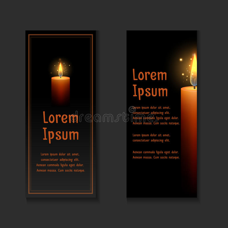 Template letters of condolence with burning candle stock illustration