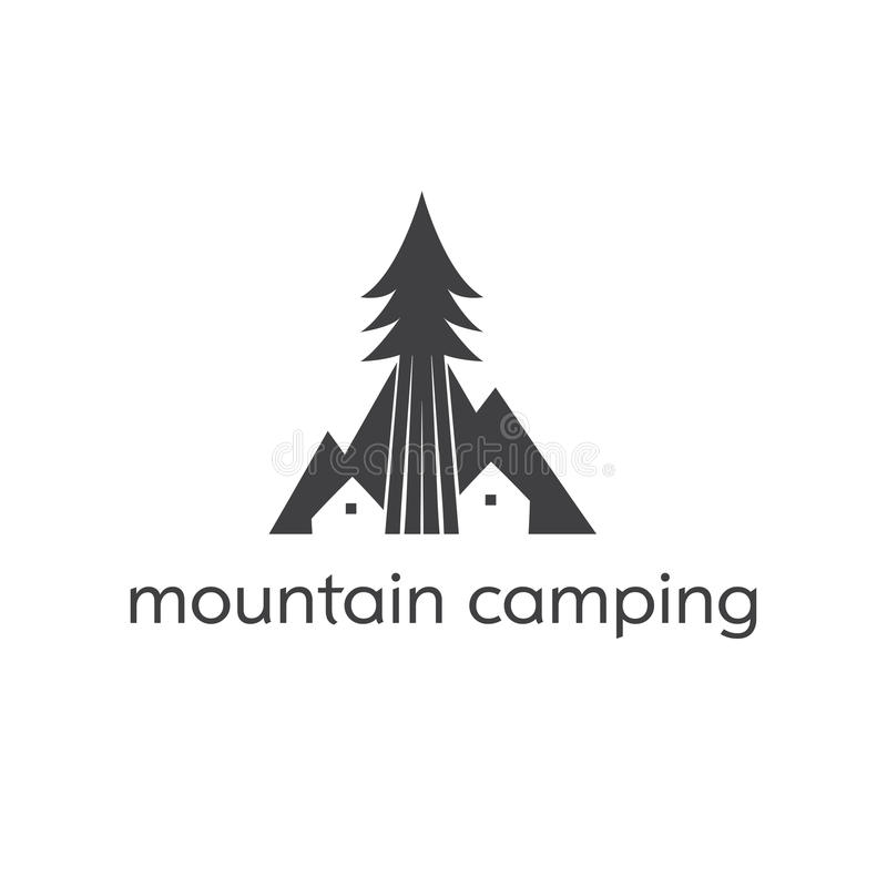 template logo with camping tent mountains and tree  stock vector