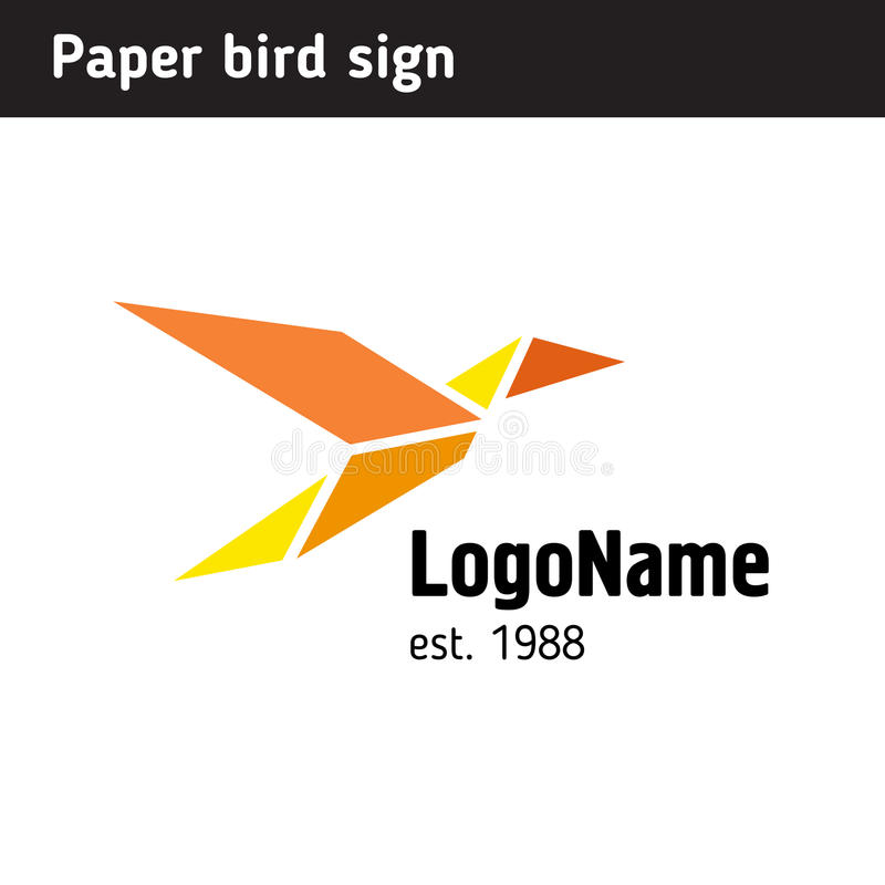Template Logo In The Form Of Paper Birds Stock Vector - Illustration ...