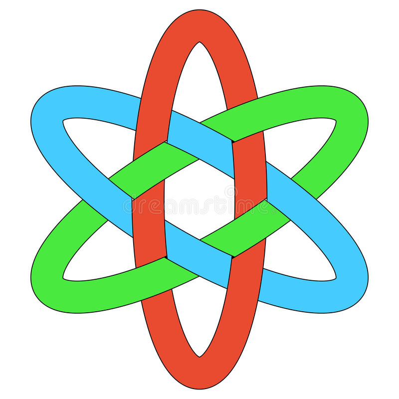Template logo RGB interlocking ovals weave ellipses stock illustration