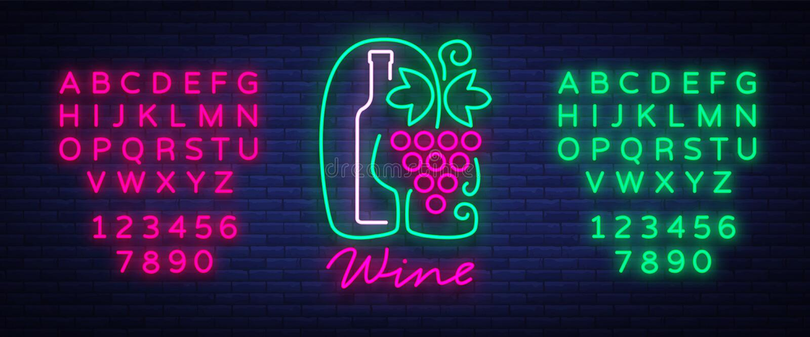 Template logo wine bar in a trendy neon style. Logo, badge glowing banner. For the menu, bar, restaurant, wine list royalty free illustration