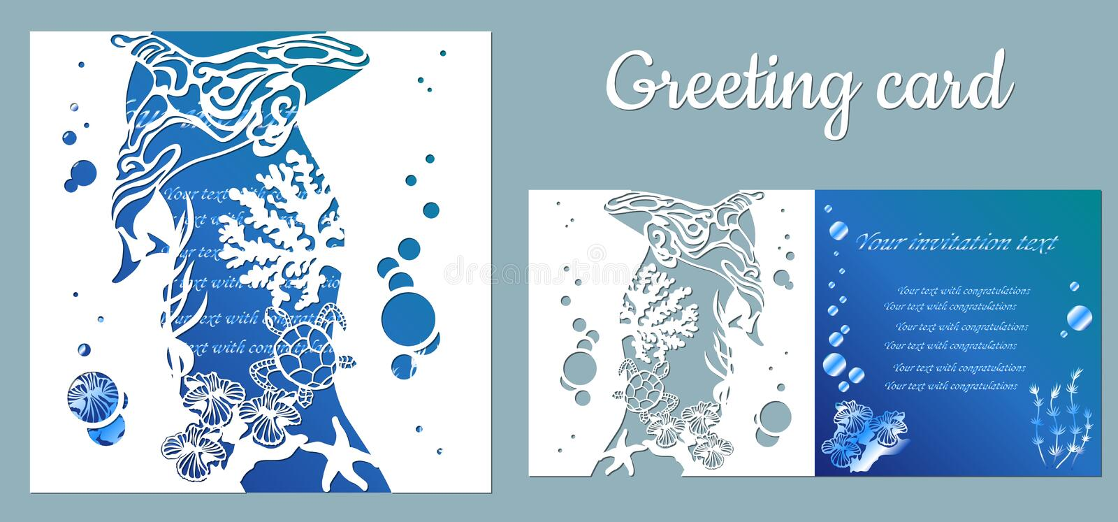 Template for making a postcard. vector image for laser cutting and plotter printing. fauna with marine animals.  royalty free illustration
