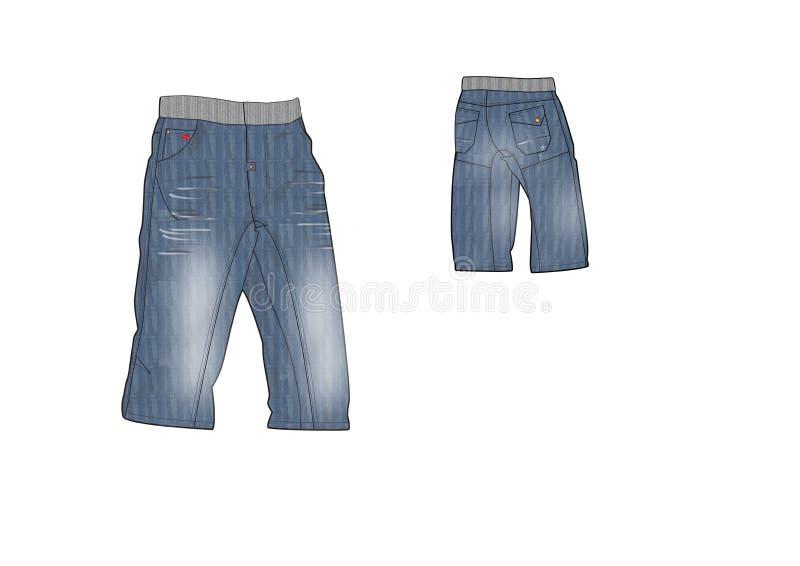 Template of Man Rib wasted denim shorts design royalty free illustration