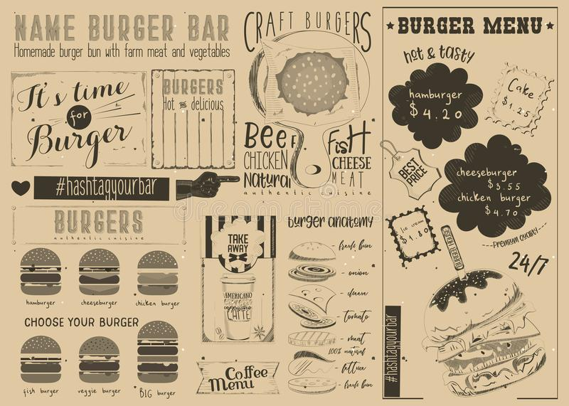 Template Menu For Burger House Stock Vector - Illustration